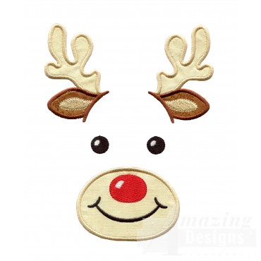 Reindeer Holiday Face Applique