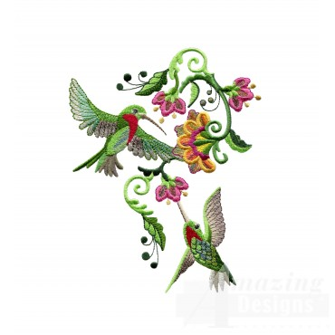 Feeding Hummingbirds 1 Embroidery Design
