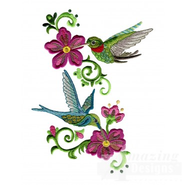 Feeding Hummingbirds 2 Embroidery Design