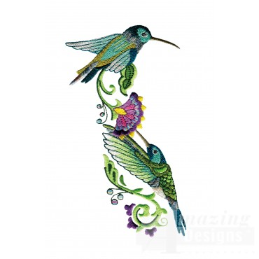 Feeding Hummingbirds 3 Embroidery Design