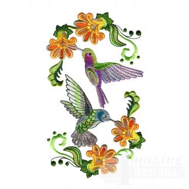Feeding Hummingbirds 4 Embroidery Design