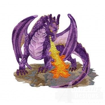 Fire Breathing Purple Dragon Embroidery Design