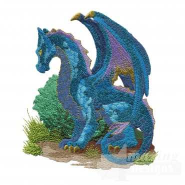 Blue Outside Dragon Embroidery Design