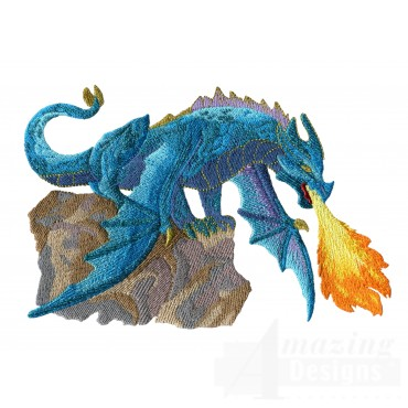 Flying Blue Dragon Embroidery Design
