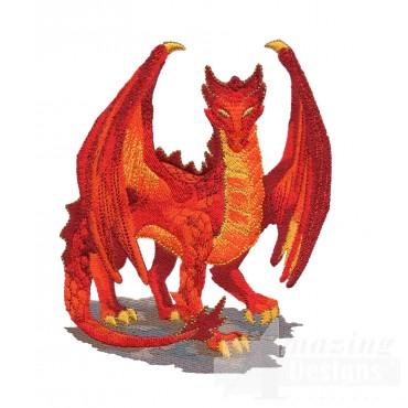 Orange Dragon Embroidery Design