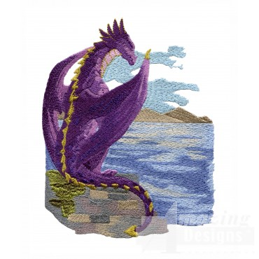 Scenic Perched Dragon Embroidery Design