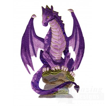 Perched Purple Dragon Embroidery Design