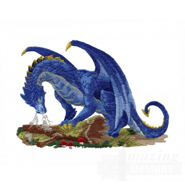 Steaming Blue Dragon Embroidery Design