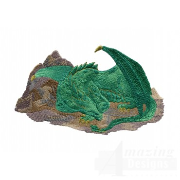 Sleeping Green Dragon Embroidery Design
