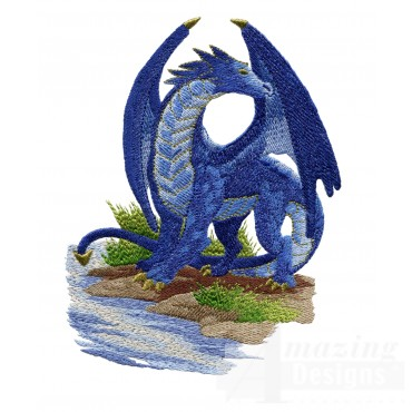 Blue Dragon By Water Embroidery Design