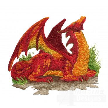 Comfortable Orange Dragon Embroidery Design