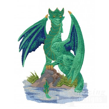 Green Dragon In Water Embroidery Design