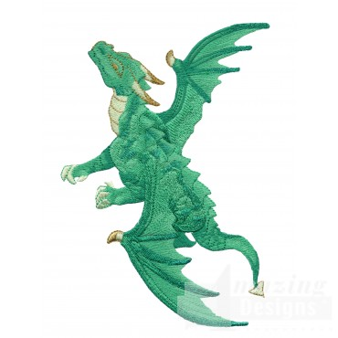 Flying Green Dragon Embroidery Design