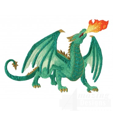 Green Fire Breathing Dragon Embroidery Design