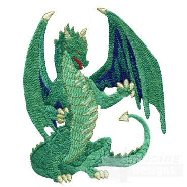 Fierce Green Dragon Embroidery Design