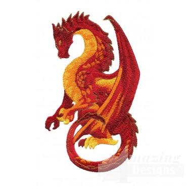 Elegant Orange Dragon Embroidery Design