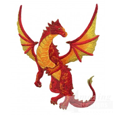 Flying Orange Dragon Embroidery Design