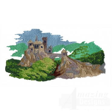 Scenic Castle Embroidery Design