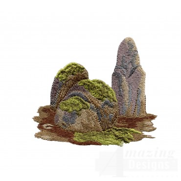 Mossy Rocks Embroidery Design