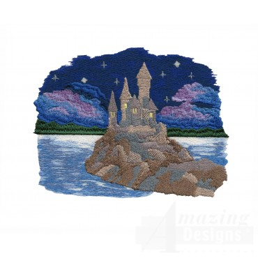 Castle At Night Embroidery Design