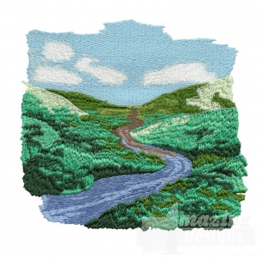 Old River Scene Embroidery Design