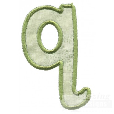 Lower Case Q Applique Embroidery Design