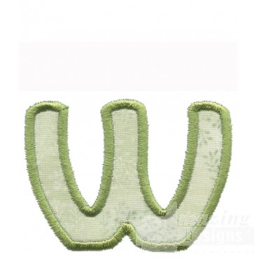 Lower Case W Applique Embroidery Design