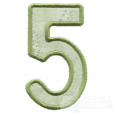 Number 5 Applique Embroidery Design