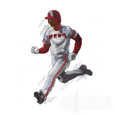 Running To Base Baseball Embroidery Design