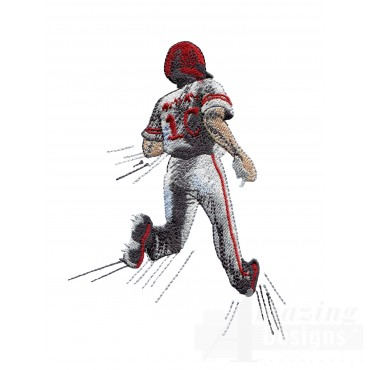 Running Home Game Day Baseball Embroidery Design