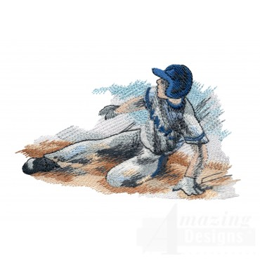 Sliding For Home Baseball Embroidery Design