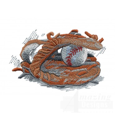 Ball In Glove Game Day Baseball Embroidery Design
