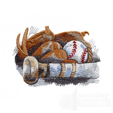 Equipment Game Day Baseball Embroidery Design