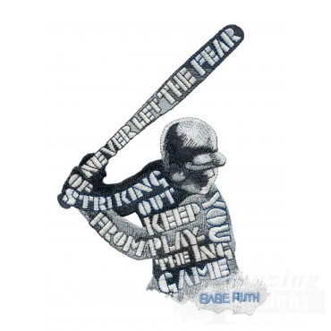 Babe Ruth Quote Baseball Embroidery Design