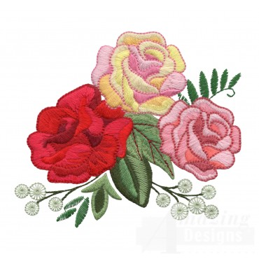 Three Colored Roses Embroidery Design