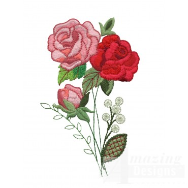 Pink And Red Roses 2 Embroidery Design