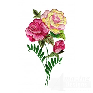 Yellow And Pink Roses 2 Embroidery Design