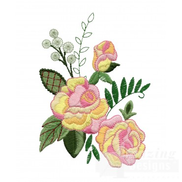 Yellow And Pink Roses 3 Embroidery Design