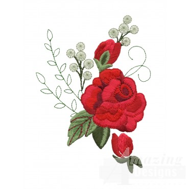Red Rose Group 2 Embroidery Design