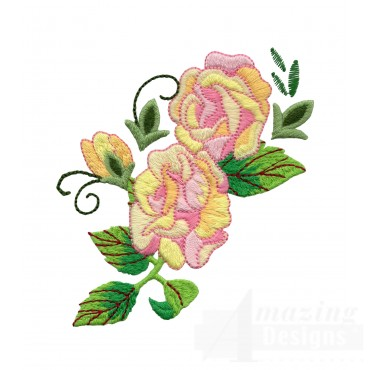 Yellow And Pink Rose 4 Embroidery Design
