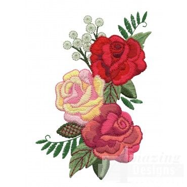 Three Colored Roses 2 Embroidery Design