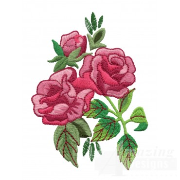 Pink Rose Group 4 Embroidery Design