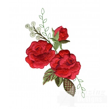 Red Rose Group 3 Embroidery Design