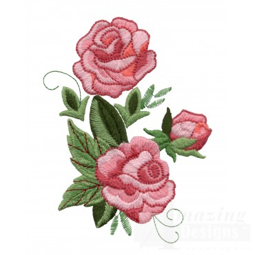 Pink Rose Group 5 Embroidery Design