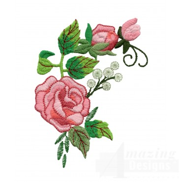 Pink Rose Group 7 Embroidery Design