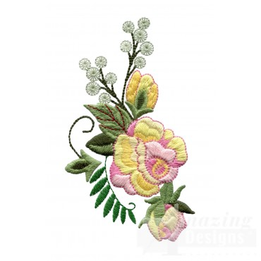 Yellow And Pink Roses 5 Embroidery Design