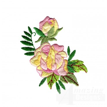 Yellow And Pink Rose 6 Embroidery Design