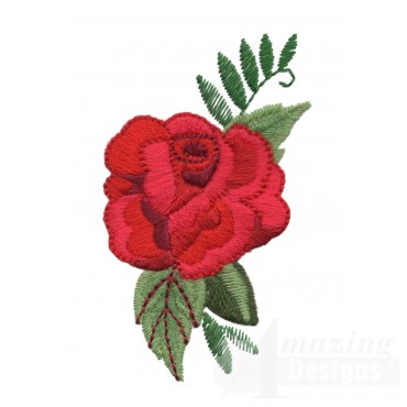 Single Red Rose Embroidery Design