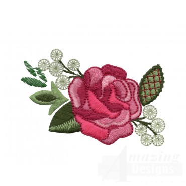 Single Pink Rose Embroidery Design