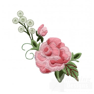 Pink Rose Group 6 Embroidery Design